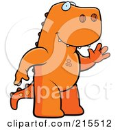 Royalty Free RF Clipart Illustration Of A Friendly T Rex Standing On His Hind Legs And Waving by Cory Thoman