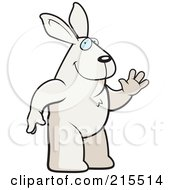 Royalty Free RF Clipart Illustration Of A Friendly Rabbit Standing On His Hind Legs And Waving by Cory Thoman
