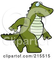 Royalty Free RF Clipart Illustration Of An Alligator Walking Upright by Cory Thoman