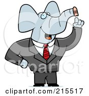 Royalty Free RF Clipart Illustration Of A Talking Elephant In A Suit by Cory Thoman