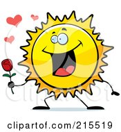 Royalty Free RF Clipart Illustration Of A Romantic Sun Presenting A Rose