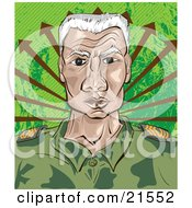Clipart Illustration Of A Senior Military Drill Sergeant In A Green Camo Uniform Facing Front With A Stern Expression