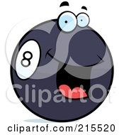 Royalty Free RF Clipart Illustration Of A Friendly Smiling Eight Ball by Cory Thoman