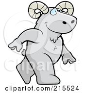 Royalty Free RF Clipart Illustration Of A Ram Walking Upright by Cory Thoman
