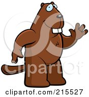 Royalty Free RF Clipart Illustration Of A Friendly Beaver Standing On His Hind Legs And Waving by Cory Thoman
