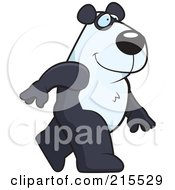 Royalty Free RF Clipart Illustration Of A Panda Walking Upright by Cory Thoman
