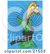 Clipart Illustration Of A Greedy Fuel Pump Nozzle Snake Character Coiled Around Money Over A Blue Swirling Background by Paulo Resende