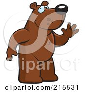Royalty Free RF Clipart Illustration Of A Friendly Bear Standing On His Hind Legs And Waving by Cory Thoman