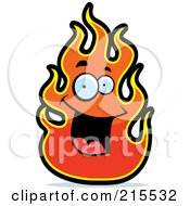 Royalty Free RF Clipart Illustration Of A Happy Smiling Flame Character by Cory Thoman