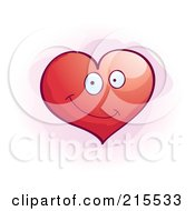 Royalty Free RF Clipart Illustration Of A Cute Smiling Red Heart by Cory Thoman