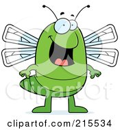 Royalty Free RF Clipart Illustration Of A Happy Dragonfly Standing by Cory Thoman