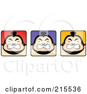 Royalty Free RF Clipart Illustration Of A Digital Collage Of Sumo Guy Faces by Cory Thoman