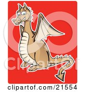 Brown And Beige Blue Eyed Dragon With Wings And A Spiked Tail Smiling And Showing Fanged Teeth