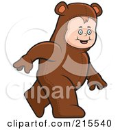 Royalty Free RF Clipart Illustration Of A Toddler Walking In A Bear Costume by Cory Thoman