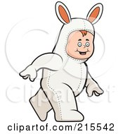 Royalty Free RF Clipart Illustration Of A Toddler Walking In A Rabbit Costume by Cory Thoman