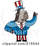 Royalty Free RF Clipart Illustration Of An Uncle Sam Ape In A Suit by Cory Thoman