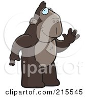 Royalty Free RF Clipart Illustration Of A Friendly Ape Standing On His Hind Legs And Waving by Cory Thoman