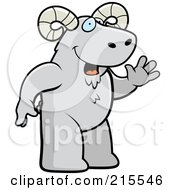 Royalty Free RF Clipart Illustration Of A Friendly Ram Standing On His Hind Legs And Waving by Cory Thoman