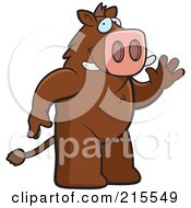 Royalty Free RF Clipart Illustration Of A Friendly Boar Standing On His Hind Legs And Waving by Cory Thoman
