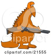 Orange Dinosaur In A Hat Carrying A Rifle And Hunting