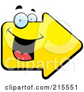 Royalty Free RF Clipart Illustration Of A Happy Smiling Yellow Arrow Character by Cory Thoman