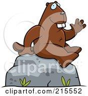 Friendly Beaver Sitting And Waving