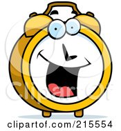 Royalty Free RF Clipart Illustration Of A Happy Smiling Alarm Clock Character