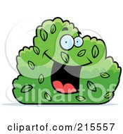 Royalty Free RF Clipart Illustration Of A Happy Smiling Shrub Character