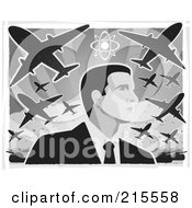 Royalty Free RF Clipart Illustration Of A Businessman Under War Planes