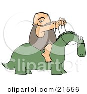 Happy Caveman Holding The Reins To A Green Dinosaur And Riding On His Back