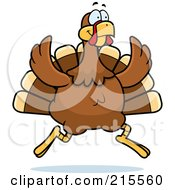 Royalty Free RF Clipart Illustration Of A Turkey Bird On The Run by Cory Thoman