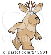 Royalty Free RF Clipart Illustration Of A Jackalope Walking Upright by Cory Thoman