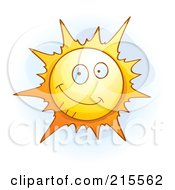 Royalty Free RF Clipart Illustration Of A Cute Smiling Sun by Cory Thoman