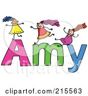 Royalty Free RF Clipart Illustration Of A Childs Sketch Of Girls Playing On The Name Amy