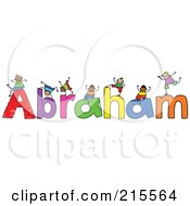 Royalty Free RF Clipart Illustration Of A Childs Sketch Of Boys Playing On The Name Abraham