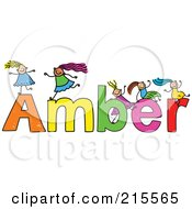 Royalty Free RF Clipart Illustration Of A Childs Sketch Of Girls Playing On The Name Amber