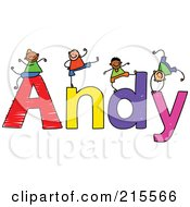 Royalty Free RF Clipart Illustration Of A Childs Sketch Of Boys Playing On The Name Andy