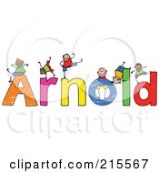 Royalty Free RF Clipart Illustration Of A Childs Sketch Of Boys Playing On The Name Arnold