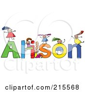 Royalty Free RF Clipart Illustration Of A Childs Sketch Of Girls Playing On The Name Alison