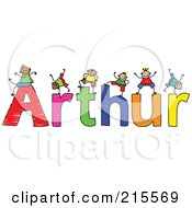 Royalty Free RF Clipart Illustration Of A Childs Sketch Of Boys Playing On The Name Arthur