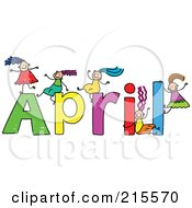 Royalty Free RF Clipart Illustration Of A Childs Sketch Of Girls Playing On The Name April