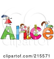Royalty Free RF Clipart Illustration Of A Childs Sketch Of Girls Playing On The Name Alice by Prawny