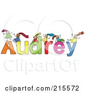 Royalty Free RF Clipart Illustration Of A Childs Sketch Of Girls Playing On The Name Audrey
