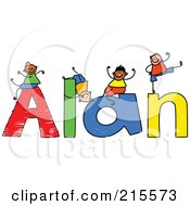 Royalty Free RF Clipart Illustration Of A Childs Sketch Of Boys Playing On The Name Alan