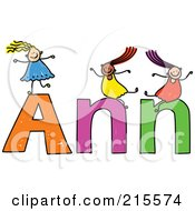 Royalty Free RF Clipart Illustration Of A Childs Sketch Of Girls Playing On The Name Ann