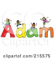 Royalty Free RF Clipart Illustration Of A Childs Sketch Of Boys Playing On The Name Adam