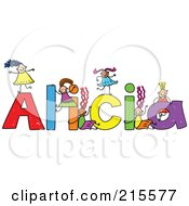 Royalty Free RF Clipart Illustration Of A Childs Sketch Of Girls Playing On The Name Alicia