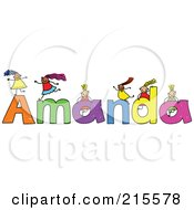 Royalty Free RF Clipart Illustration Of A Childs Sketch Of Girls Playing On The Name Amanda