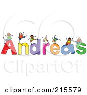 Royalty Free RF Clipart Illustration Of A Childs Sketch Of Boys Playing On The Name Andreas