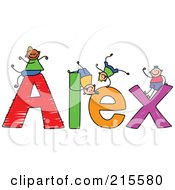 Royalty Free RF Clipart Illustration Of A Childs Sketch Of Boys Playing On The Name Alex